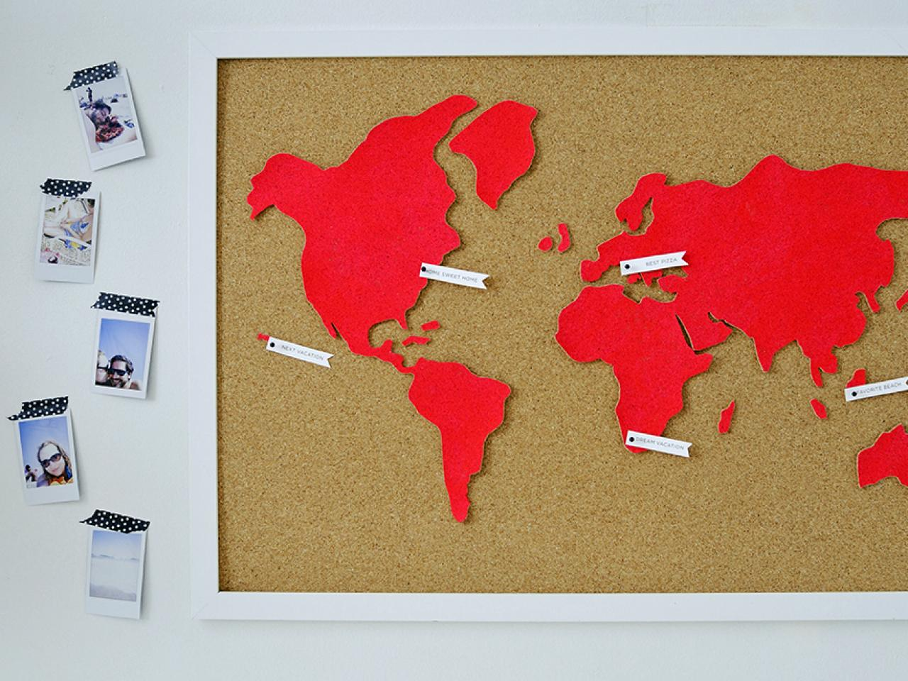Diy wall art make a custom corkboard world map hgtv hang and enjoy gumiabroncs Choice Image