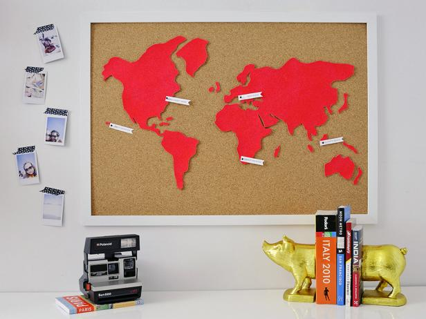 Diy wall art make a custom corkboard world map hgtv originalmichelle edgemont diy cork wall map beautyh gumiabroncs Choice Image