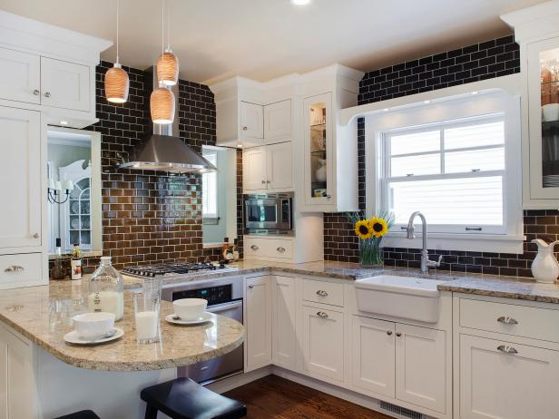 Kitchen with White Cabinets and Brown Subway Tile Backsplash