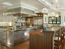 High-end luxury meets ultimate function in this family-friendly kitchen designed by Peter Salerno.