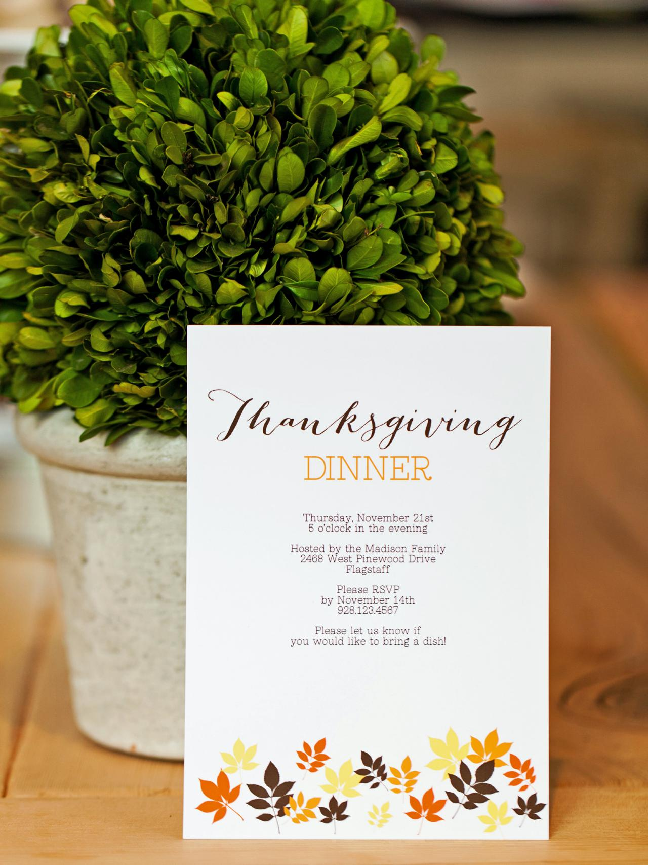 Free Thanksgiving Templates Gift Tags Cards Crafts More HGTV - Thanksgiving party invitation templates