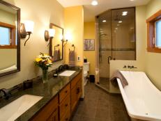 Large Bathroom With Double Vanity