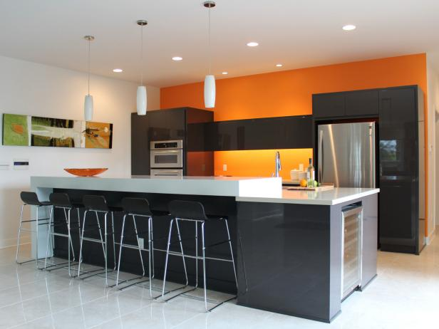 Orange paint colors for kitchens pictures ideas from for Kitchen colors with white cabinets with wall metal art contemporary
