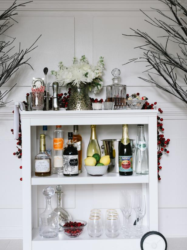 Bookshelf Repurposed as a Holiday Bar Cart