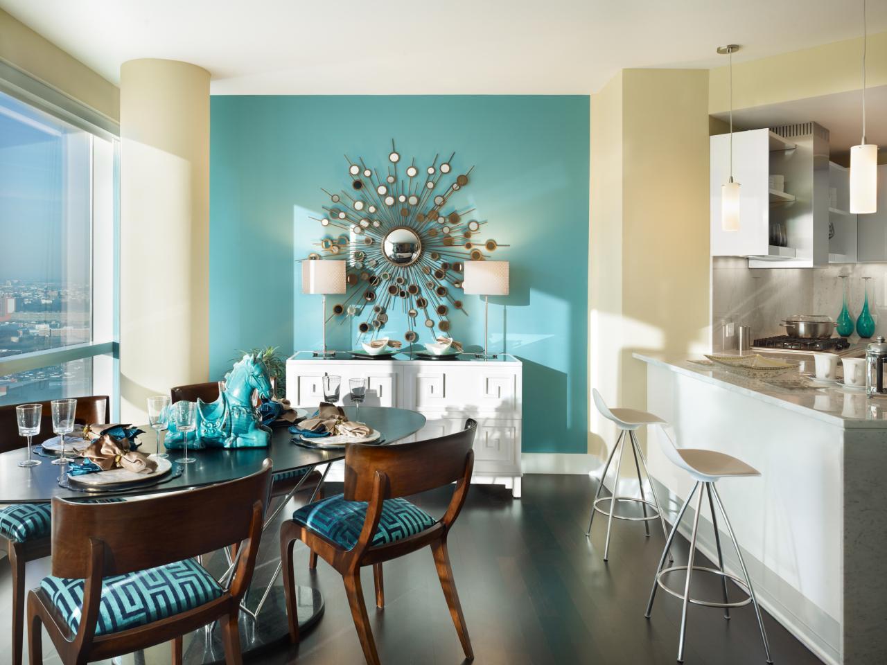 Turquoise Mid Century Modern Dining Room Hgtv
