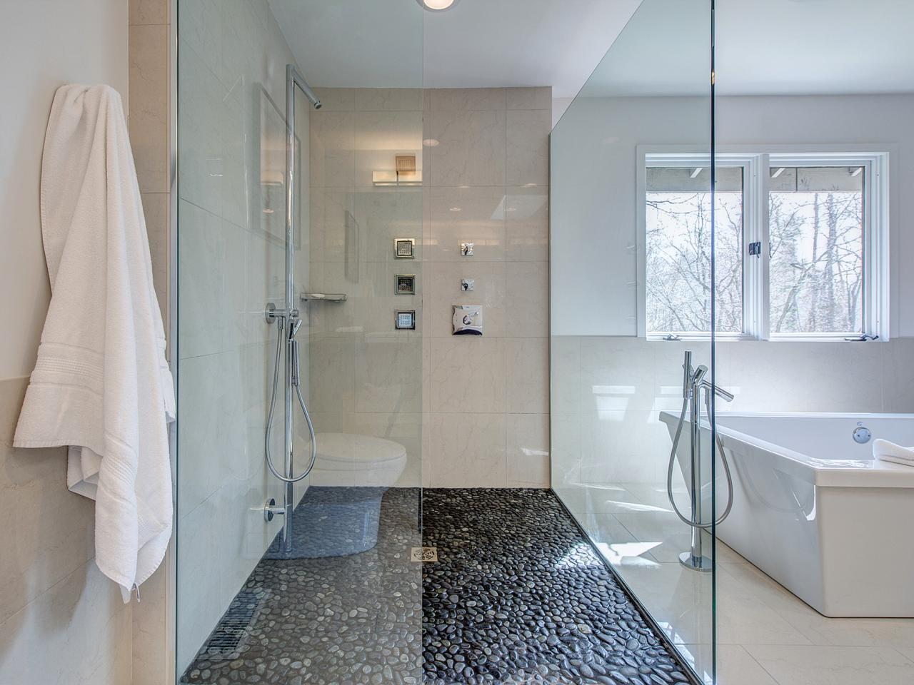 Contemporary White Shower With Pebble Floor Hgtv