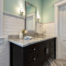 Eclectic Master Bathroom With Built-In Vanity