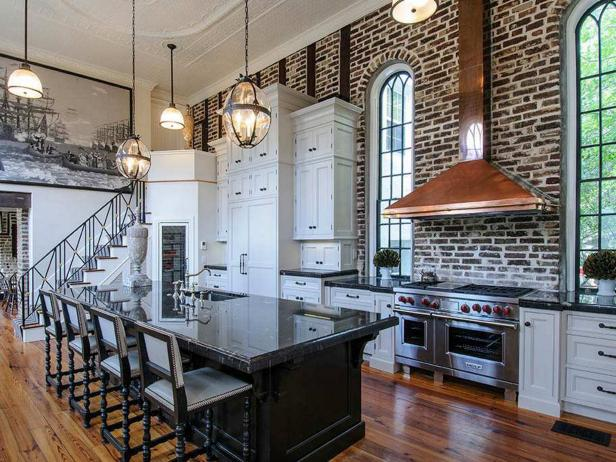 White Traditional Kitchen With Exposed Brick Wall