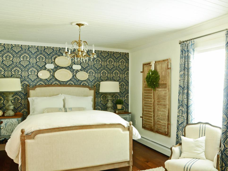 french cottage bedroom with European antique accents