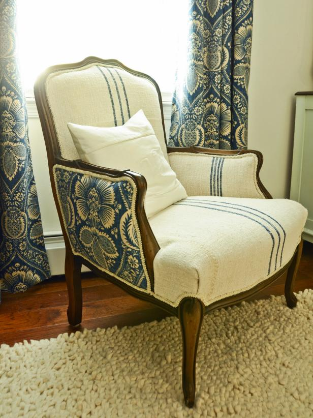 Upholstered Chair After - How To Reupholster An Arm Chair HGTV