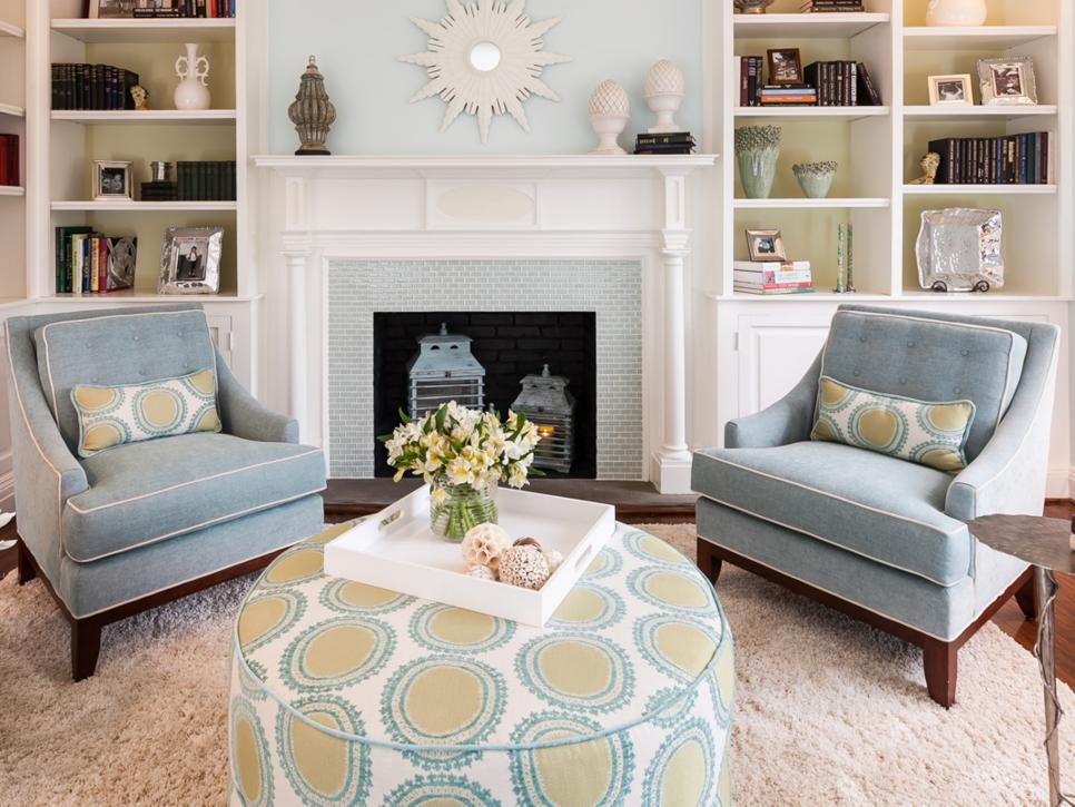 Blue Transitional Living Room