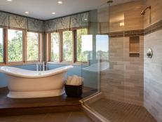 Blue Transitional Bathroom Boasts Stunning Views