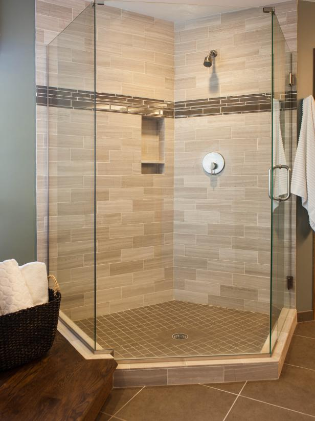 Frameless Walk-In Shower with Neutral Subway Tile