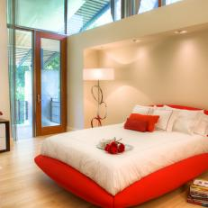 Romantic Bedroom With Red Bed