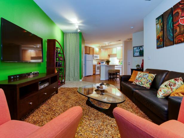 Bright Green Apartment Living Room