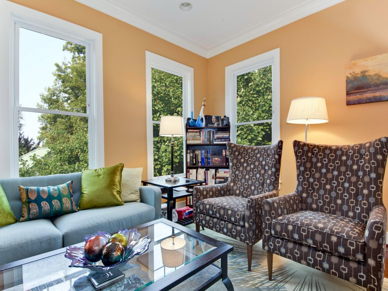 Apricot Walls Make Electic Living Room Pop Hgtv