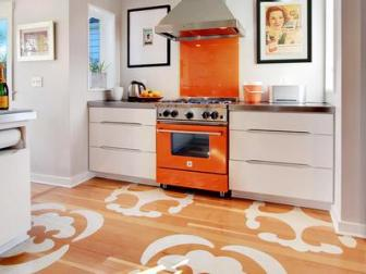 Modern Kitchen With Stenciled Hardwood Floor
