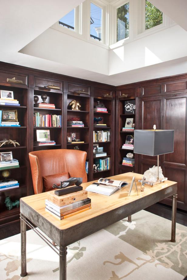 Transitional Study With Wooden Built-In Shelves
