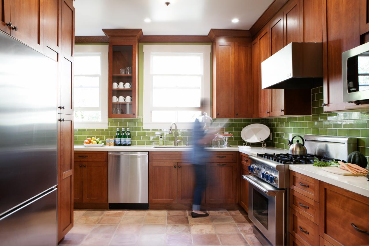 - Craftsman Kitchen With Red Wood Cabinets And Green Subway Tile
