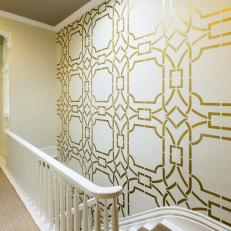 Glamorous Entryway With Metallic Stenciled Wall