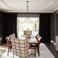 Mix of Light and Dark Adds Drama in Dining Room