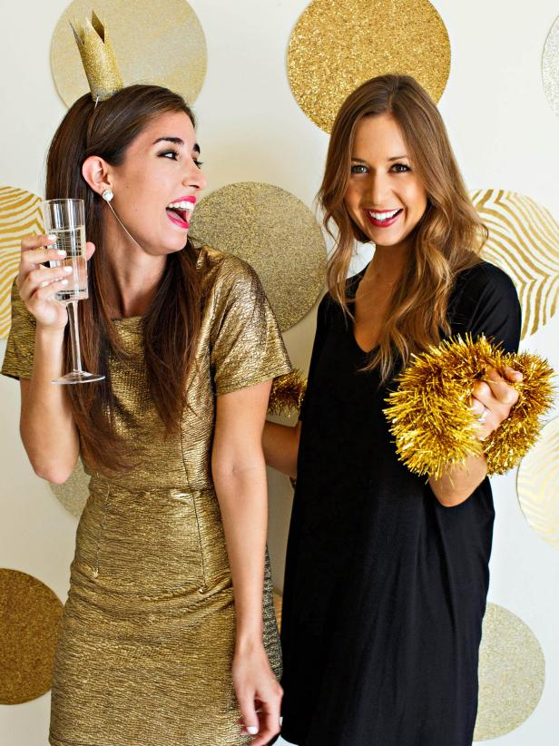New Year's Eve Gold Glitter Photo Backdrop