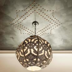 Eclectic Black-and-White Pendant Light With Nailhead Trim