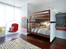 Fun and Colorful Kid's Bedroom With Built-In Bunk Beds