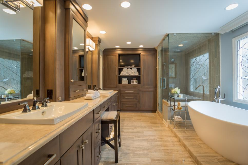 Spacious Bathroom with Freestanding Tub