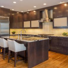 Contemporary Kitchen with Wood Cabinets and Island