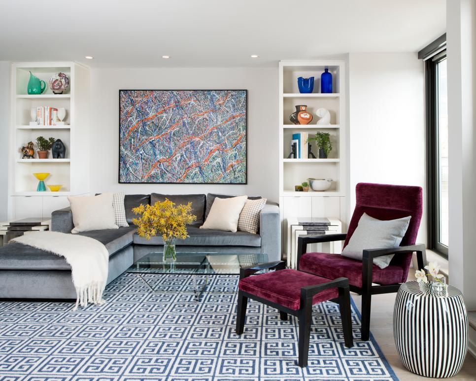 Modern Living Room With Maroon Chair And Greek Key Rug Hgtv