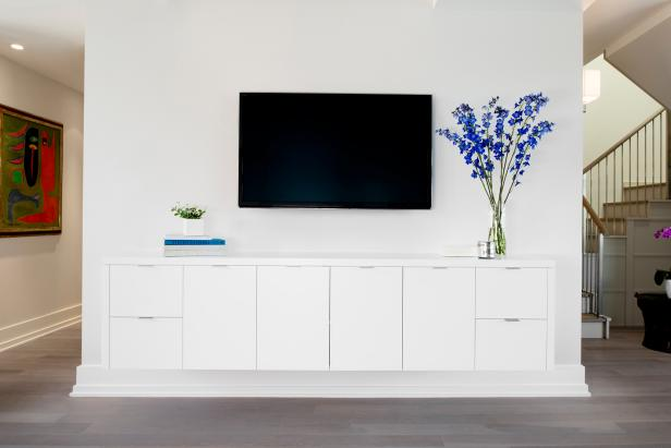 Chic White Modern Media Wall With Built In Cabinet