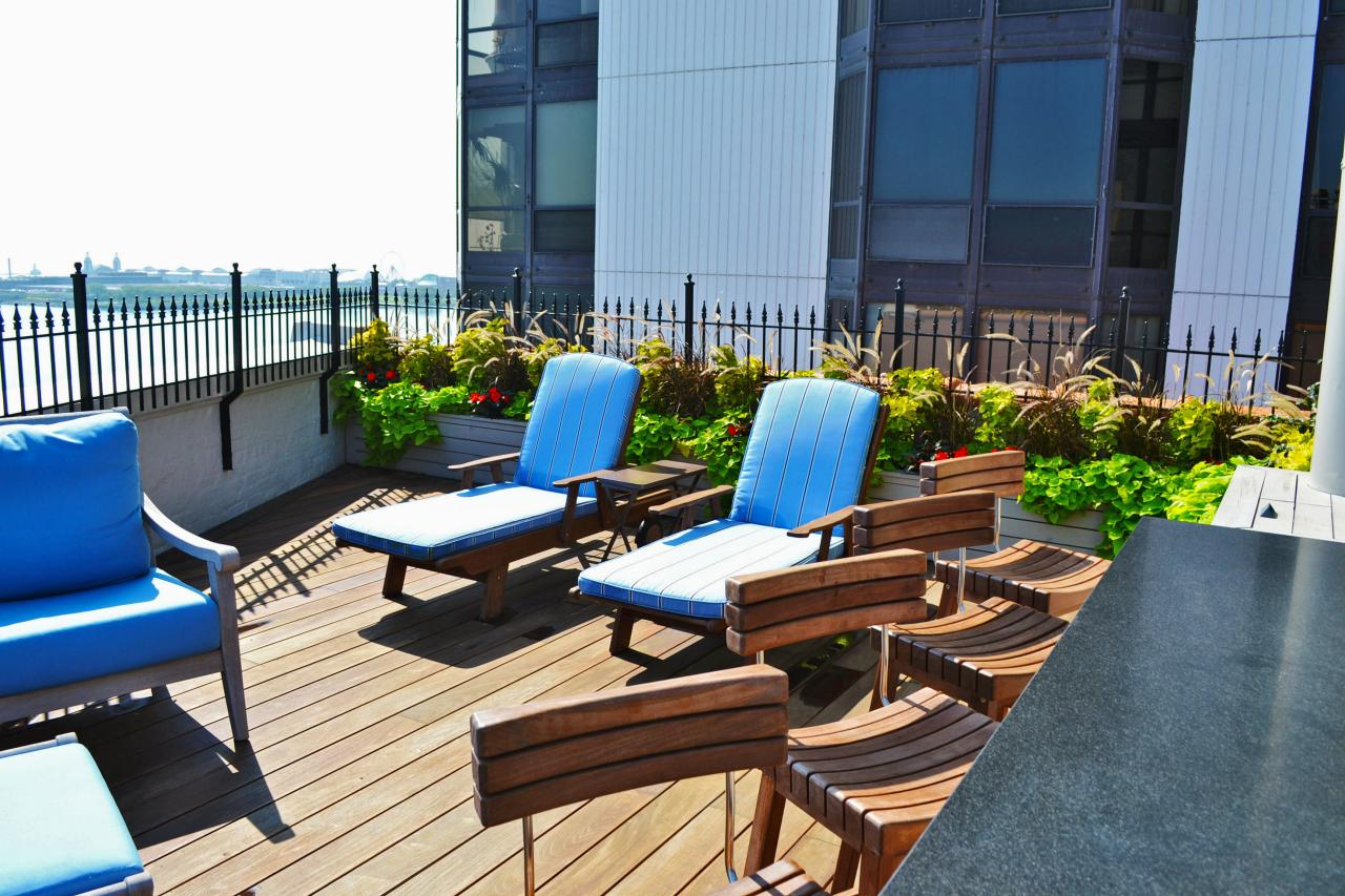roof deck furniture. Rooftop Deck With Planters, Barstools And Lounge Chairs Roof Furniture N