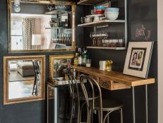 Narrow Rustic Bar Nook With Black Walls