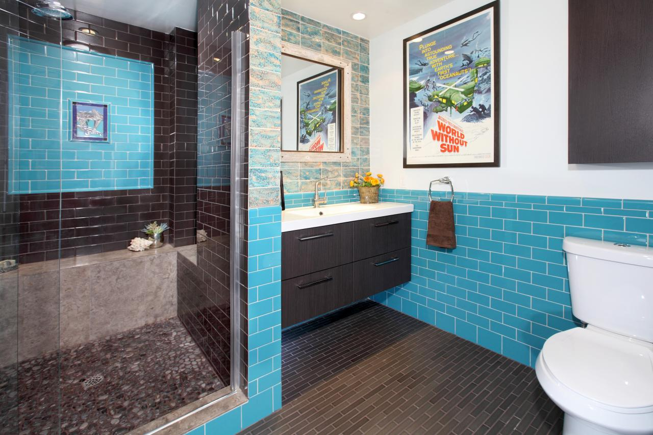 Vibrant Teal Tiled Bathroom With Floating Vanity | HGTV