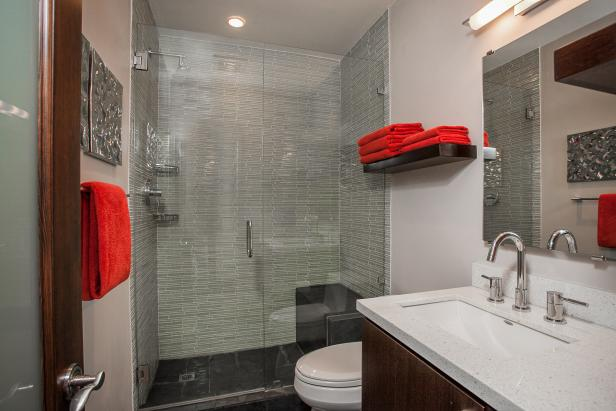 Contemporary Neutral Bathroom With Gl Enclosed Shower