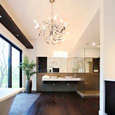 Stunning Modern Bathroom With Dark Hardwood Floor
