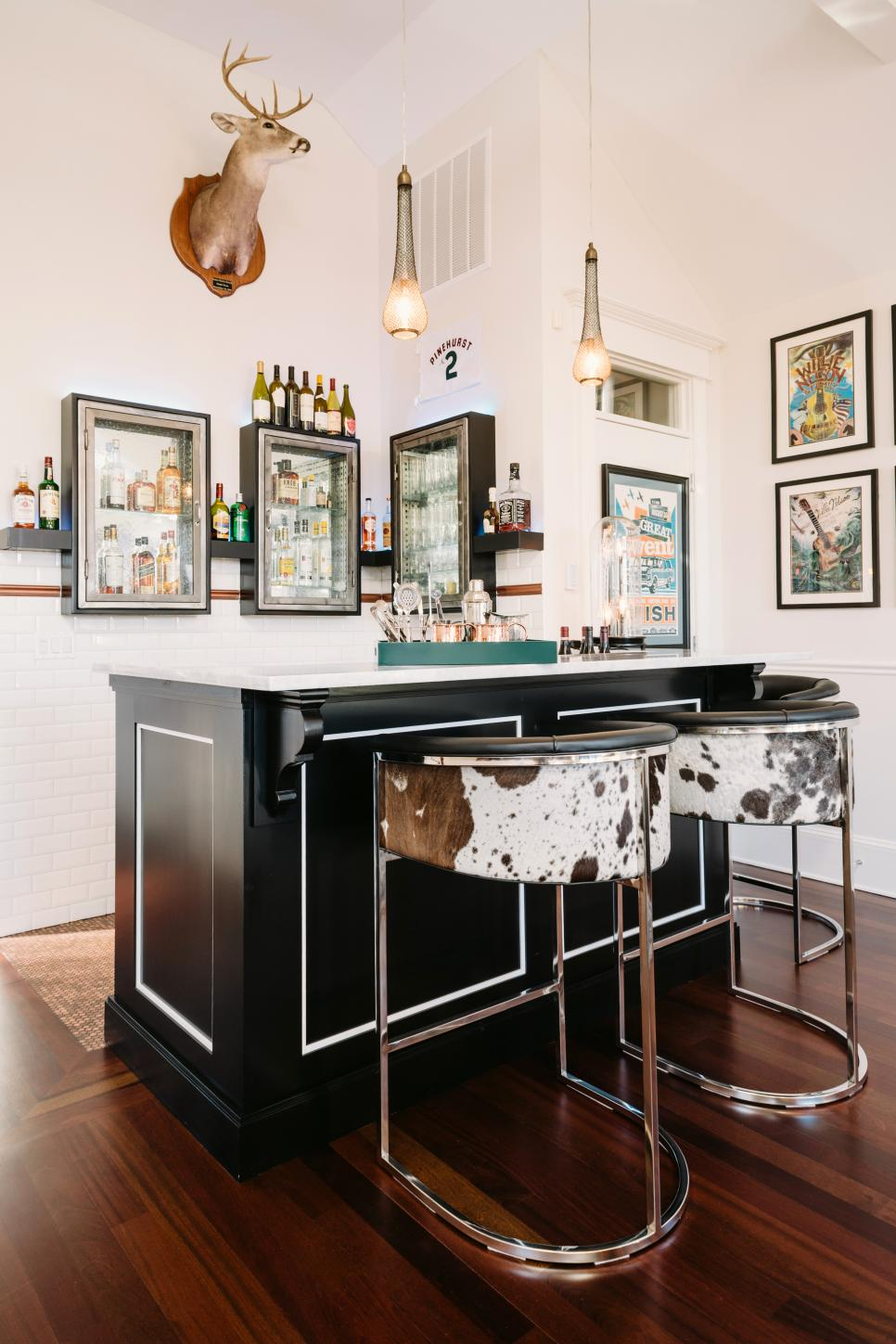 Corner Bar With Cabinets, Cow Hide Barstools & Mounted Deer Head