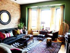 Eclectic Living Room with Green Accent Wall