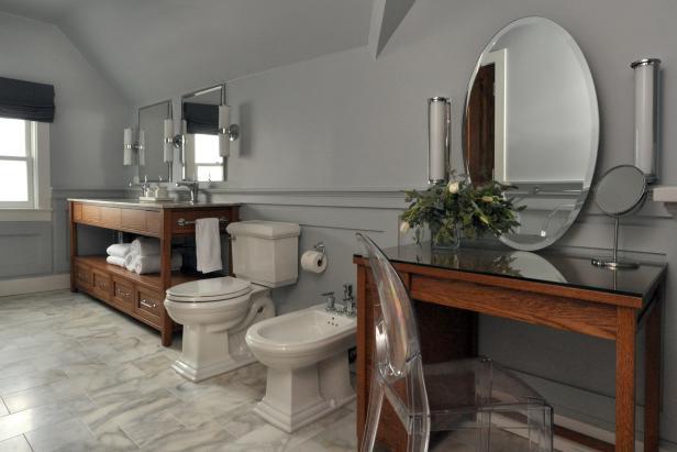 Luxurious Spa Bathroom With Makeup Dresser Hgtv