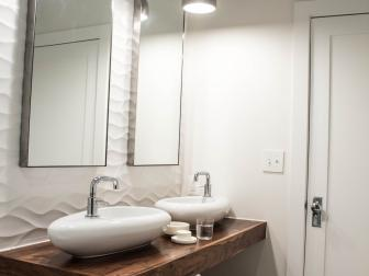 Floating Wood Double Vanity Adds Interest in White Modern Bathroom