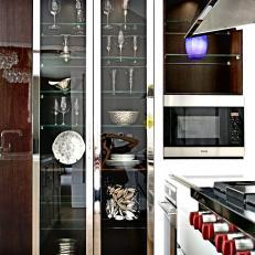 Sleek, Modern, Glass Front Display Cabinet In Kitchen