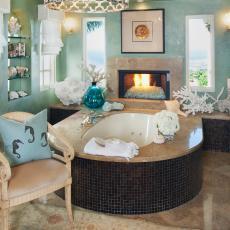 Blue Green Bathroom With Mosaic Tile Bathtub Surround