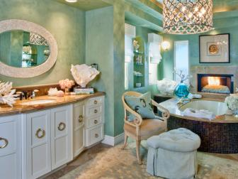 Luxury Blue-Green Coastal Bathroom With Mediterranean Flair