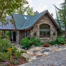 Rustic Guest House Stone Exterior And Walkway