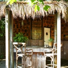 Backyard Tiki-Style Bar and Stools