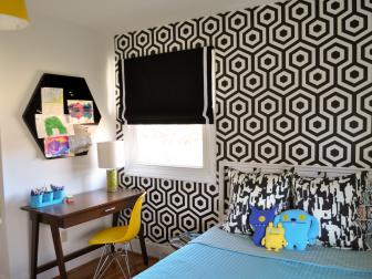 Kids' Bedroom with Bold Black & White Graphic Wallpaper