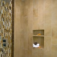 Modern Shower With Vertical Mosaic Tiles And Wall Niche