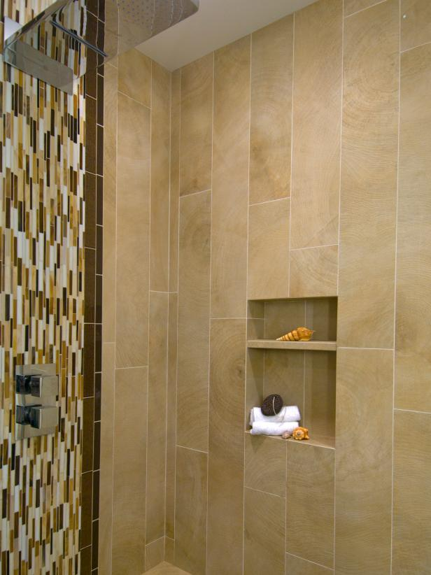 Modern Shower With Vertical Mosaic Tiles And Wall Niche Hgtv