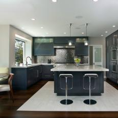 Contemporary Teal Eat-In Kitchen